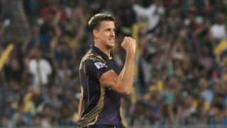 Manoj Tiwary dismissed for 32 by Morne Morkel against Kolkata Knight Riders in IPL 2015