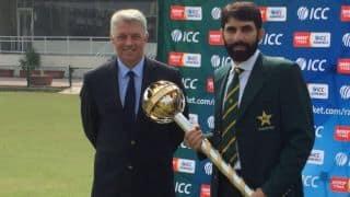 Misbah-ul-Haq presented with ICC Test mace at Gaddafi Stadium