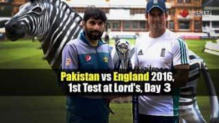 PAK 214/8  | PAK vs ENG 2016 Live Cricket Score: 1st Test, Day 3 at Lord's: STUMPS