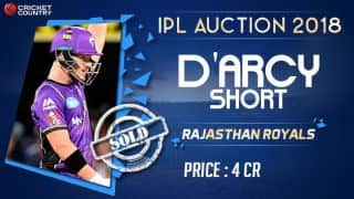 D'arcy Short sold to Rajasthan Royals (RR) for INR 4 crores