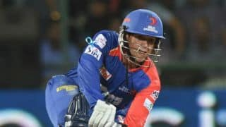 Quinton de Kock completes half-century during Sunrisers Hyderabad-Delhi Daredevils IPl 2015 match at Raipur