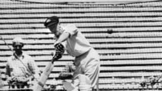 Don Bradman 185, India 58 and 98