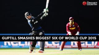 Video: Martin Guptill smashes biggest six of ICC Cricket World Cup 2015