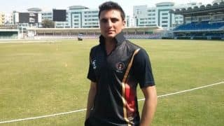 Nasir Jamal dismissed for 17 against England in ICC Cricket World Cup 2015, Pool A match 38 at Sydney
