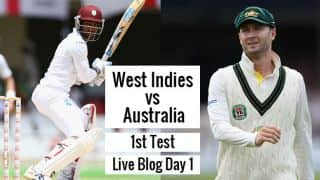 Live Cricket Score, West Indies vs Australia 2015, 1st Test at Dominica, Day 1: AUS 85/3 at Stumps