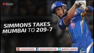 Lendl Simmons, Unmukt Chand help Mumbai Indians post 209/7 against Royal Challengers Bangalore in Match 16 of IPL 2015