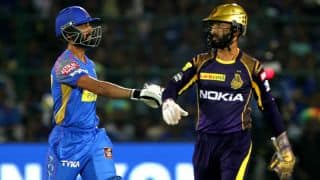 Watch: Dinesh Karthik quickness behind the wicket lead to Ajinkya Rahane's run out during KKR, RR tie