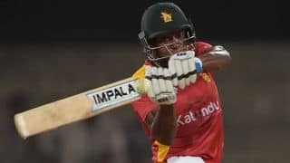 Vusi Sibanda dismissed for 23 by Wahab Riaz against Pakistan in 1st ODI at Lahore