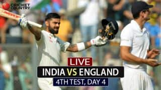 Live Cricket Score, India vs England, 4th Test, Day 4 at Mumbai