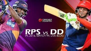RPS 76/1 in 11 Overs | Live Cricket Score RPS vs DD, IPL 2016, 49th T20 Match at Visakapatnam: RPS win by 19 runs (D/L)