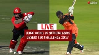 Live Cricket Score, HK vs NED Desert T20 2017: HK get to 100-run mark