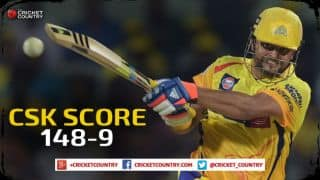 Chennai Super Kings score 148/9 against Royal Challengers Bangalore in Match 37 of IPL 2015