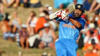 India tour of New Zealand 2014, 3rd ODI at Auckland: India 25/0 in 5 overs