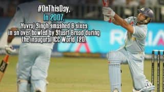 Yuvraj Singh hits Stuart Broad for six sixes in an over