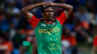 Rubel Hossain received an official reprimand and one demerit point for breaching the ICC Code of Conduct