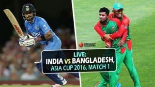 BAN 121/7 in 20 ovs   TGT 167   Live Cricket Score India vs Bangladesh, Asia Cup 2016 Match 1 at Dhaka: India win by 45 runs