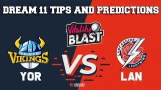 Dream11 Team Yorkshire vs Lancashire North Group VITALITY T20 BLAST ENGLISH T20 BLAST – Cricket Prediction Tips For Today's T20 Match YOR vs LAN at Manchester