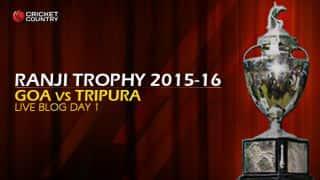 GOA 161/5 I Live Cricket Score Goa vs Tripura, Ranji Trophy 2015-16 Group C match at Goa: End of day's play