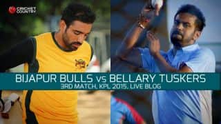 BT 109 in 19.5 overs   Live cricket score Karnataka Premier League 2015: Bijapur Bulls vs Bellary Tuskers at Hubli: Bulls win by 16 runs