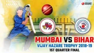 Vijay Hazare Trophy 2018-19, 1st Quarter-final: Mumbai thrash listless Bihar by nine wickets to reach semis