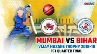 Vijay Hazare Trophy 2018-19, 1st Quarter-final: Mumbai thrash listless Bihar by nine wickets to reach semis