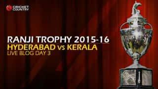 HYD 207/8 I Live cricket score, Hyderabad vs Kerala, Ranji Trophy 2015-16, Group C match, Day 3 at Hyderabad: Stumps