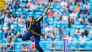 Yorkshire spinner Josh Poysden out for season with fractured skull after being hit by a ball in training