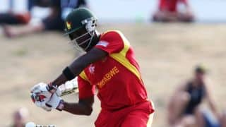 Elton Chigumbura dismissed by Nathan McCullum against New Zealand in one-off T20I at Harare