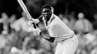 Joel Garner, retired hurt, vents it out on stumps