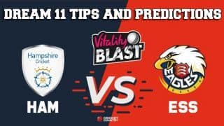 Dream11 Team Hampshire vs Essex South Group VITALITY T20 BLAST ENGLISH T20 BLAST – Cricket Prediction Tips For Today's T20 Match HAM vs ESS at Chelmsford