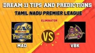 Dream11 Team Siechem Madurai Panthers vs VB Kanchi Veerans Eliminator TNPL 2019 TAMIL NADU T20 – Cricket Prediction Tips For Today's T20 Match MAD vs VBK at Tirunelveli