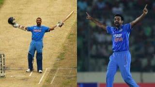 Deodhar Trophy: Dhawan's ton, Kulkarni's hat-trick help India Red register 23-run win over India Blue