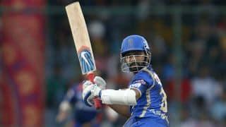 Ajinkya Rahane dismissed for 23 by Mohit Sharma against Chennai Super Kings in IPL 2015