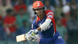 Shreyas Iyer dismissed for 40 by Brad Hogg against Kolkata Knight Riders in IPL 2015