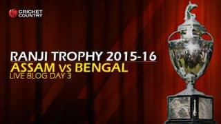 ASSAM 72/2 | | Live Cricket Score, Assam vs Bengal, Ranji Trophy 2015-16, Group A match, Day 3 at Guwahati: Stumps