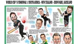 ICC Cricket World Cup 2015: New Zealand vs South Africa, first semi-final match in Auckland in caricatures