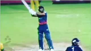 Video: Rashid Khan hits helicopter shot in T10 league