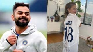 David Warner daughter indi receive virat kohli sign jersey from Indian skipper