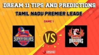 Dream11 Team Chepauk Super Gillies vs Dindigul Dragons Match 1 TNPL – Cricket Prediction Tips For Today's T20 Match CHE vs DIN at NPR College Ground, Dindigul
