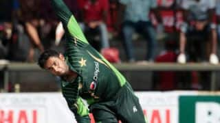 Richmond Mutumbani dismissed for 3 by Imad Wasim against Pakistan in 2nd T20I at Harare