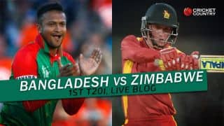 BAN 166/6 (18.4) | Target 164 | Live Cricket Score, Bangladesh vs Zimbabwe 2015-16, 1st T20I at Khulna: Bangladesh win by 4 wickets