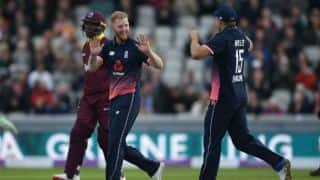 England restrict West Indies to 204 for 9 in 1st ODI