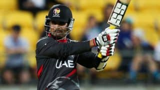Shaiman Anwar dismissed for 2 by Jerome Taylor against West Indies in ICC Cricket World Cup 2015