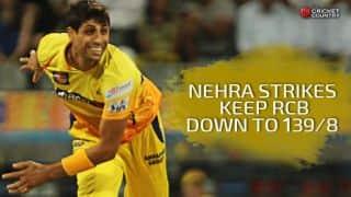 Ashish Nehra, Ravichandran Ashwin help CSK restrict RCB to 139/8 in IPL 2015 Qualifier 2