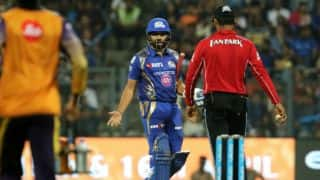 IPL 2017: Mumbai Indians (MI) captain Rohit Sharma reprimanded for showing discontent over umpire's decision against Kolkata Knight Riders (KKR) in Match 7