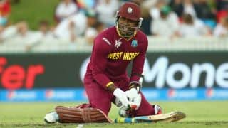Marlon Samuels run out for two by Virat Kohli against India in ICC Cricket World Cup 2015