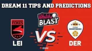 Dream11 Team Leicestershire vs Derbyshire North Group VITALITY T20 BLAST ENGLISH T20 BLAST – Cricket Prediction Tips For Today's T20 Match LEI vs DER at Derby