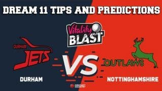 Dream11 Team Durham vs Nottinghamshire North Group VITALITY T20 BLAST ENGLISH T20 BLAST – Cricket Prediction Tips For Today's T20 Match DUR vs NOT at Nottingham