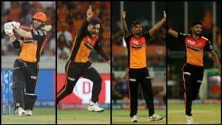 डेविड वार्नर के अर्धशतक के बाद गेंदबाजों ने हैदराबाद को दिलाई जीत