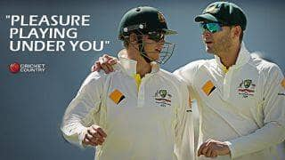 Steven Smith congratulates Michael Clarke on a magnificent career